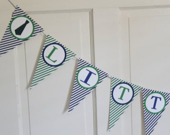 "LITTLE MAN Mustache and Tie ""It's A Boy"" Baby Shower Banner - Navy Green - Party Packs Available"