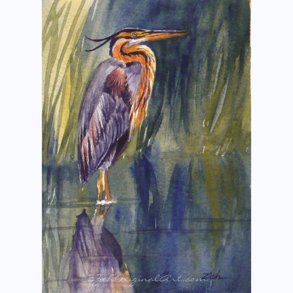Heron Painting Bird Wall Art Matted Original Watercolor by Janet Zeh