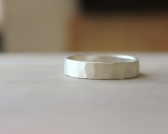 Sterling Silver Men's Band Ring Wedding Wide Band Hammered Satin Matte Finish