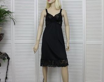 Vintage Olga Black Full Slip Size 36