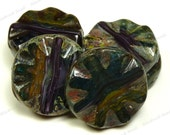 18mm Multicolor Picasso Carved Czech Glass Beads - 4pcs - Teal, Purple, Golden Yellow, White - BF37