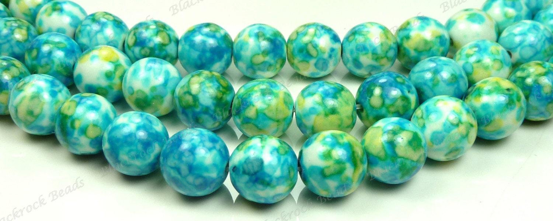 10mm Rain Flower Stone Ocean Jade Round Gemstone Beads - 15.5 Inch ...