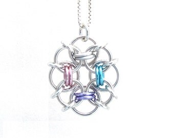 Handmade Pendant, Multicolor Pendant, Chain Maille Jewelry, Pastel Jewelry, Jump Ring Jewelry