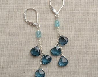London Blue Topaz, Long Gemstone Dangle Earrings, December Birthstone Earrings, Healing Gemstone Jewelry, Sterling silver Leverback
