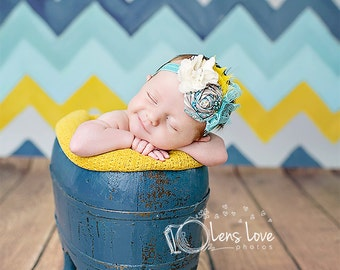 Turquoise, Ivory and Mustard headband, ivory headbands, newborn headbands, summer headbands, vintage headbands, photography prop