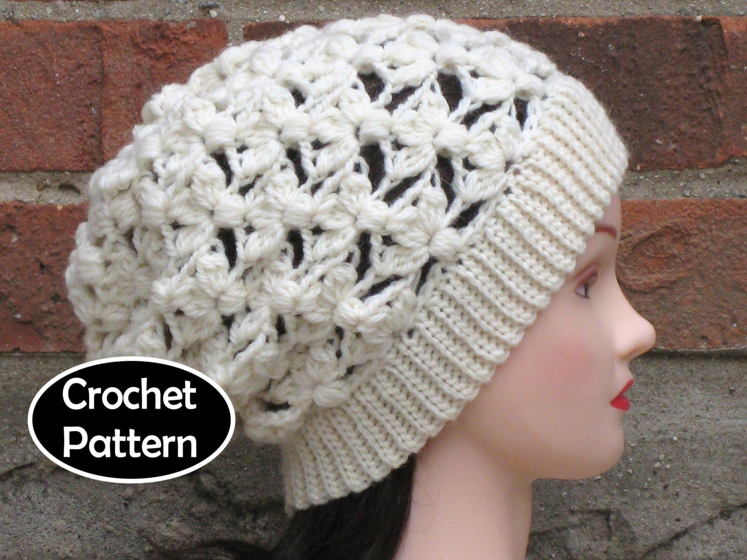 Crochet Hat Pattern Download : CROCHET HAT PATTERN Instant Download Pdf Saskia Slouchy