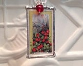 Wildflower Pendant Cigarette Card Christmas Birthday Gift Statement Necklaces Soldered