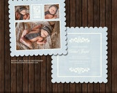 INSTANT Download Luxe 5x5 Birth Announcement Card Template with Decorative Letters - B8