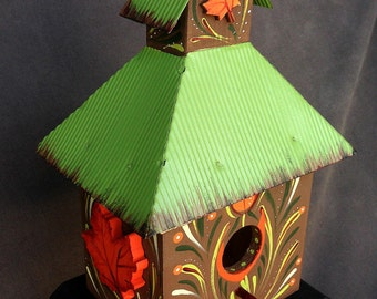 AUTUMN LEAVES BIRDHOUSE, A Collectible Birdhouse Hand Painted With Three Dimensional Leaves & Metal Roof Ready To Hang