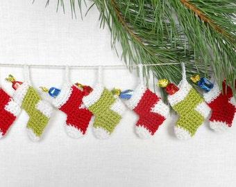 Christmas Garland Miniature Stocking Red White Green Set 10 Amigurumi Merino Wool