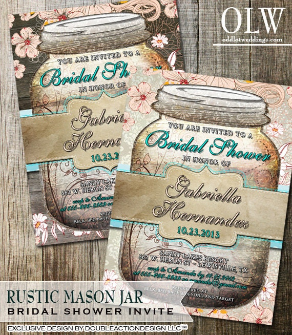 Rustic mason jar bridal shower invitation mason jar invite etsy filmwisefo