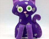 Felt Cat, stuffed cat kids toy, Purple Cat handmade in felt plush toy decor