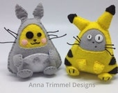 Pikachu and Totoro cosplay, crossover Duo handmade in felt decorative toy geek ornament anime plushie.