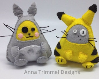 Totoro and yellow monster cosplay, crossover Duo handmade in felt decorative toy geek ornament anime plushie.