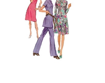 Simplicity 9503 Sewing Pattern 70s Retro Mod A-line Dress High Neck Tunic Groovy Pants Disco Fashion Uncut Bust 38 Plus Size