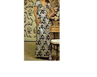 McCall's 2499 Sewing Pattern Designer Original 1970s Retro Party Dress Formal Gown Straight Skirt Empire Waist V Neckline Bust 36