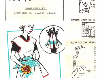 Mail Order 157 Vintage 40s or 50s Womens Mail Order Cobbler Apron  - Royal Rose Apron - Sewing Pattern Size 14, 16 18 S M L