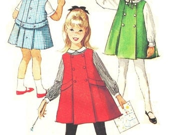 Simplicity 5133 Photocopy of Vintage 50s Toddler Girl's A Line Jumper Dress with Long or Short Sleeve Top Sewing Pattern Size 2