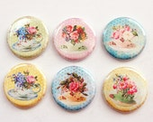 Flower Magnets, Tea Cup Magnets, button magnets, Kitchen Magnets, Flowers, Floral, Victorian, pastel Colors, stocking stuffer (3341)
