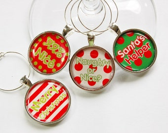 Wine Glass Charms, Christmas Wine Charm, Wine Charms, Santa, table setting, entertaining, Christmas party,stocking stuffer,wine lover (2872)