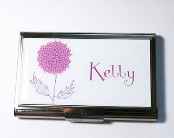 Personalized Business Card Case, Flower, Custom Case, Personalized, card case, business card holder, Floral case (3021)