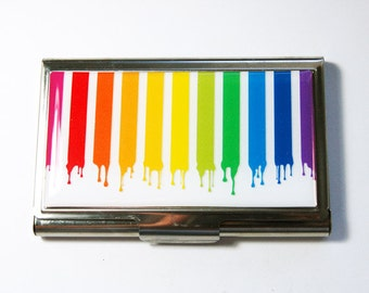 Business Card Case, Card case, business card holder, Rainbow, Paint Dripping, Dripping Paint, Bright Colors  (3030)
