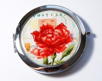 Flower compact mirror, pocket mirror, purse mirror, compact mirror, floral mirror, Red flower (3059)