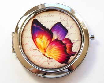 Pocket mirror, Butterfly, Compact mirror, Butterfly compact mirror, butterfly mirror, mirror, purse mirror, Purple, Nature (3104)