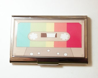 Business Card Case, Cassette, Retro, retro case, music lover, Card case, business card holder, Rainbow (3140)