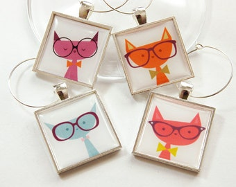 Wine Glass Charms, Cat Wine Charms, Cat Lover, Wine Charms, entertaining, Colorful, Cats, barware (3143)
