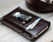 2 side mini soil brown leather iphone case with clip belt