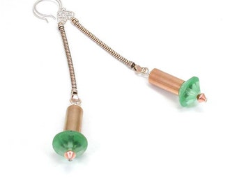 Vintage Green Glass Dangle - Recycled Watch Band Chain - Shoulder Duster Earrings - Long Mid Century Modern Earring - Mod Copper Tubes