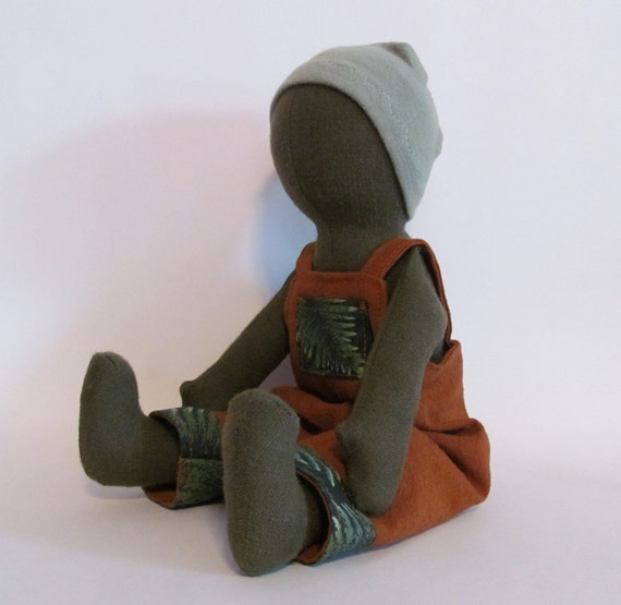 "SALE 11"" Olive green Eco-friendly doll with overalls and cap"