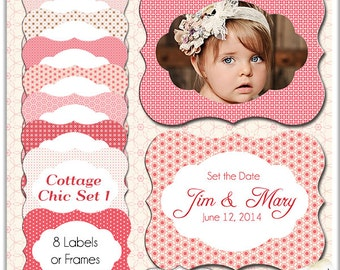 Cottage Chic Labels/ Shabby Chic Frames/ 8 Tags / Clip art Clipart / Wedding/ Party/ Canning /Craft DIY / Invitations / CU / Instant