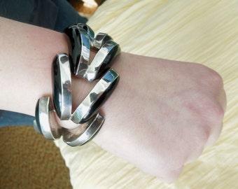 Sterling Silver Black Onyx Bracelet Mexican Wave Bracelet Modernist