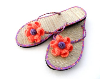 Crochet Flower Clips - Sandal Clips - Flip Flop Clips -  Any color Made To Order