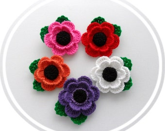 Crochet Applique - Multicolored Flowers - Poppy Flowers - Any Colour - Made to Order