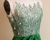Vintage 1960s Kelly Green Appliqued Mini Dress // Mad Men - MissLeahAlice