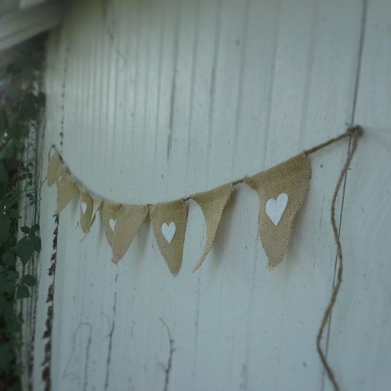 Burlap Flag Heart Banner w/ Jute Twine-4 Feet-Choose Your Colors- Wedding/Party Decor- Folk/Country/Shabby Chic-Barn Wedding-Beach Wedding