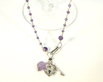 Amethyst and Silver Wire Wrapped Chain Skull, Key and Heart Charm Long Necklace