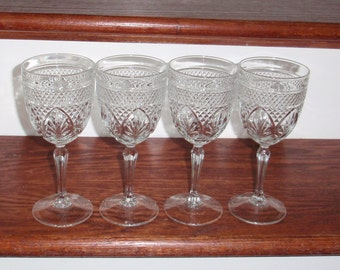 "4 ANTIQUE CRIS D'Arques Durand Antique Clear Cut Crystal Wine Water 7 5/8"" High Glasses Goblets Stems France Set Arches Excellent Condition"
