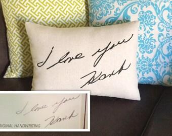Handwritten signature pillow 12x16 with insert