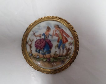 Vintage French Hand Painted Limoges Brooch  w698
