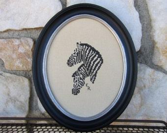 Vintage Framed Zebra Needlepoint Wall Hanging