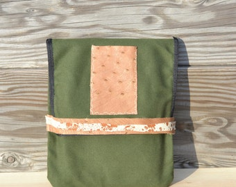 iPad Sleeve - Canvas iPad Case - Canvas and Leather Tablet Case - Small Lap Top Bag