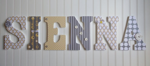 Wooden Wall Decor For Nursery : Items similar to wall letters nursery decor wooden