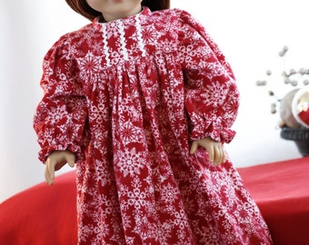 """Doll Clothes Girl American Christmas Pajamas Clothes 18"""" - Red Flannel Snowflakes Nightgown with High Gathered Waist and Long Sleeves PJs"""