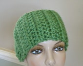 Boho Ear Warmer Headband, Deluxe Crochet Earwarmer, soft Winter Headband,  Alternative Cold Weather Deep Sage Green Hat