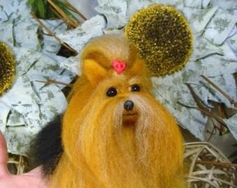 Yorkshire Terrier Needle Felted , Silky Terrier, Handmade Dog Art