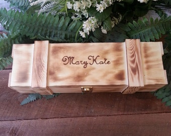 Rustic Wedding Wine Box Personalized